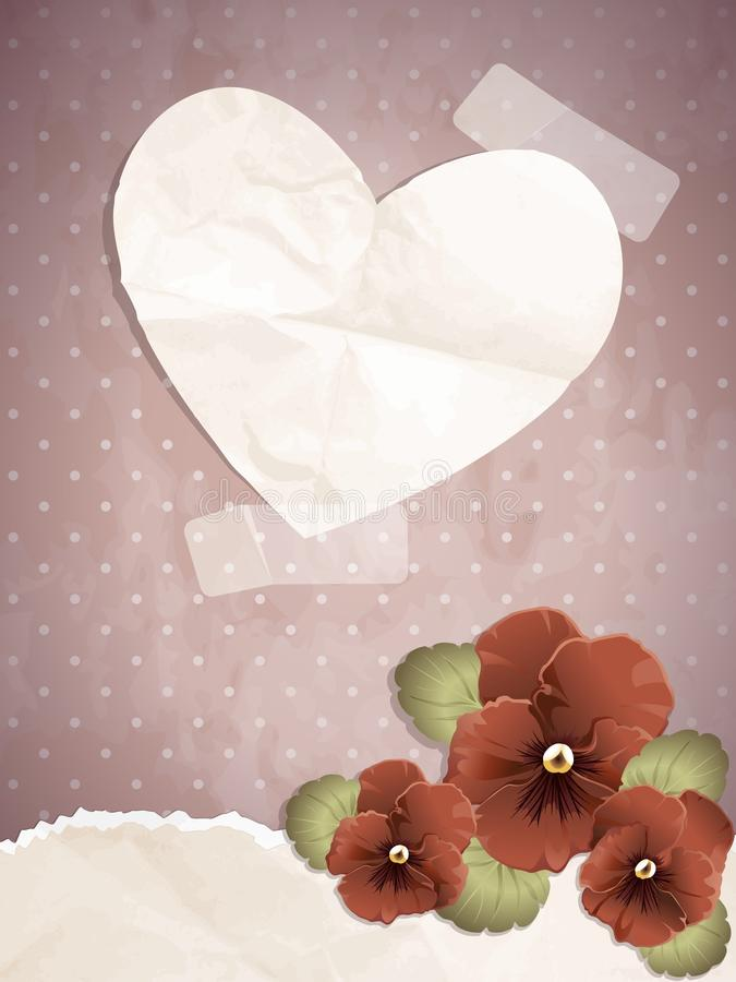 ρομαντικός τρύγος εγγράφου απεικόνισης καρδιών διανυσματική απεικόνιση