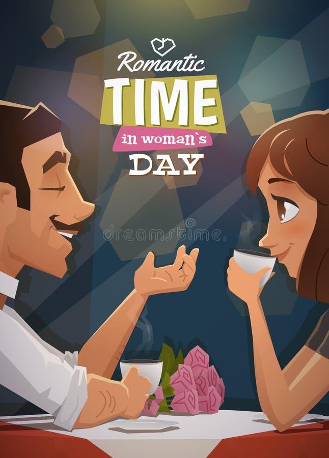 Ρομαντικός χρόνος στην ημέρα γυναικών ελεύθερη απεικόνιση δικαιώματος