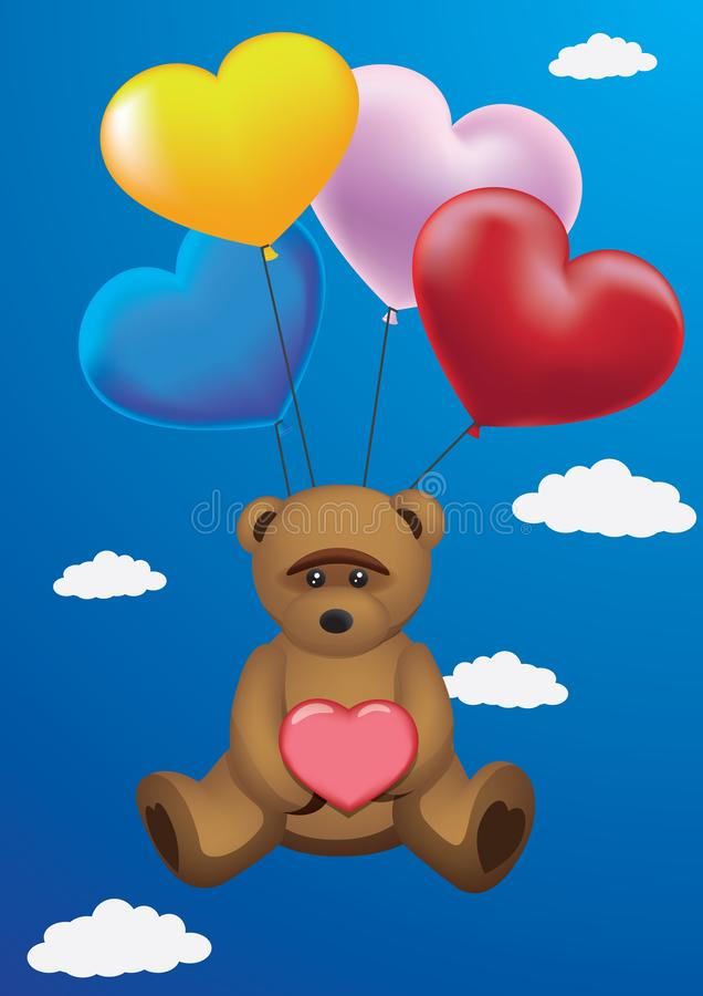 Ρομαντικός teddy με τις σφαίρες και την καρδιά διανυσματική απεικόνιση