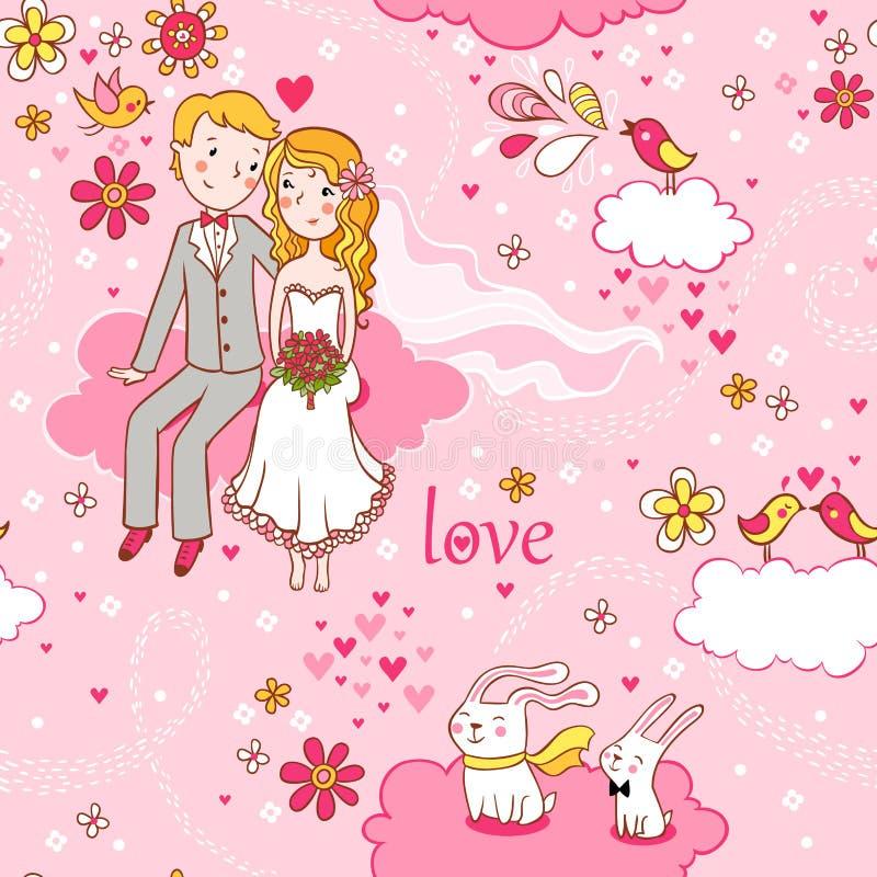 Ρομαντικό άνευ ραφής πρότυπο κινούμενων σχεδίων. ελεύθερη απεικόνιση δικαιώματος