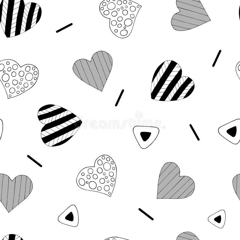 Ρομαντικό άνευ ραφής σχέδιο επανάληψης με τις καρδιές και τα χαριτωμένα απλά στοιχεία r διανυσματική απεικόνιση