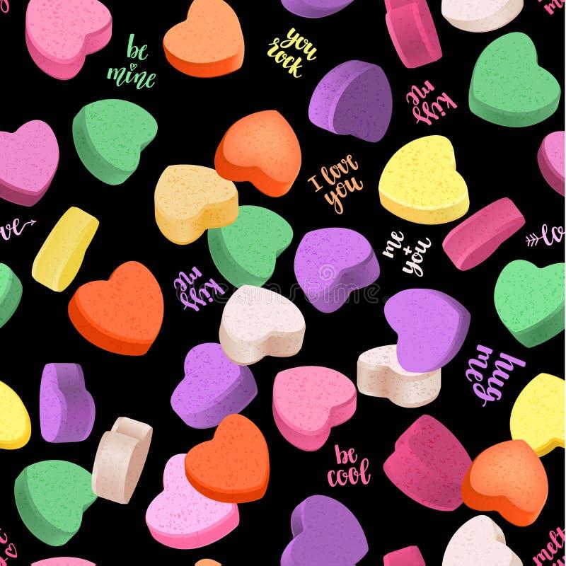Ρομαντικό άνευ ραφής σχέδιο με τις καρδιές και χειρόγραφη εγγραφή για το σχέδιό σας ελεύθερη απεικόνιση δικαιώματος