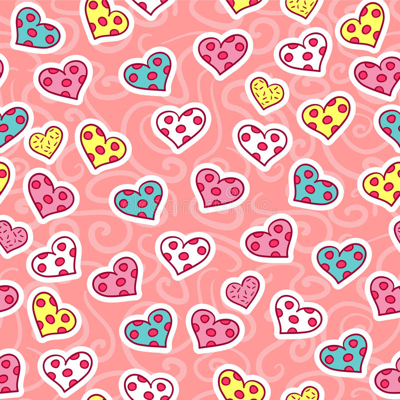 Ρομαντικό άνευ ραφής σχέδιο με τις καρδιές απεικόνιση αποθεμάτων