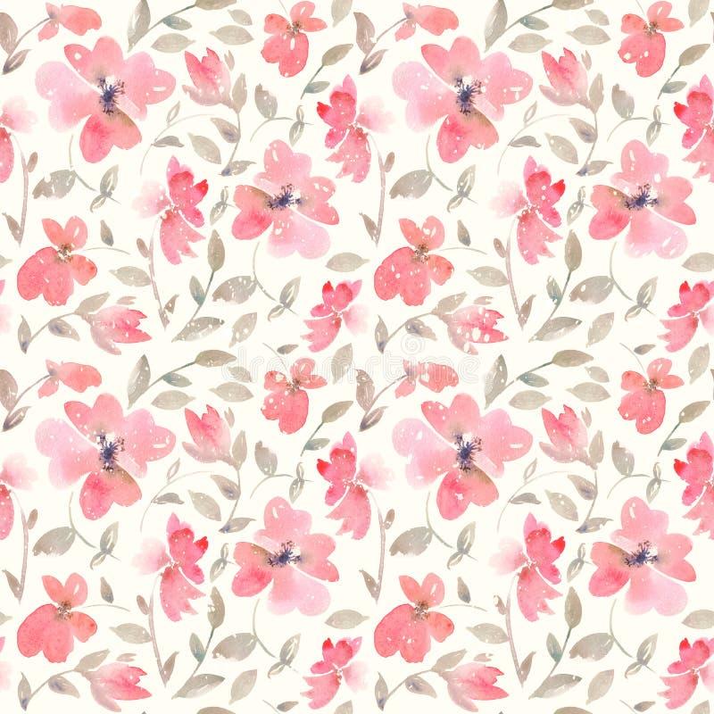 Ρομαντικό ανοικτό κόκκινο Floral άνευ ραφής σχέδιο απεικόνιση αποθεμάτων