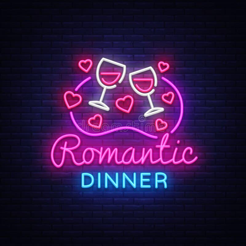 Ρομαντικό διάνυσμα λογότυπων νέου γευμάτων Σημάδι νέου κρασιού, πρότυπο σχεδίου, σύγχρονο σχέδιο τάσης, πινακίδα νέου νύχτας, νύχ διανυσματική απεικόνιση