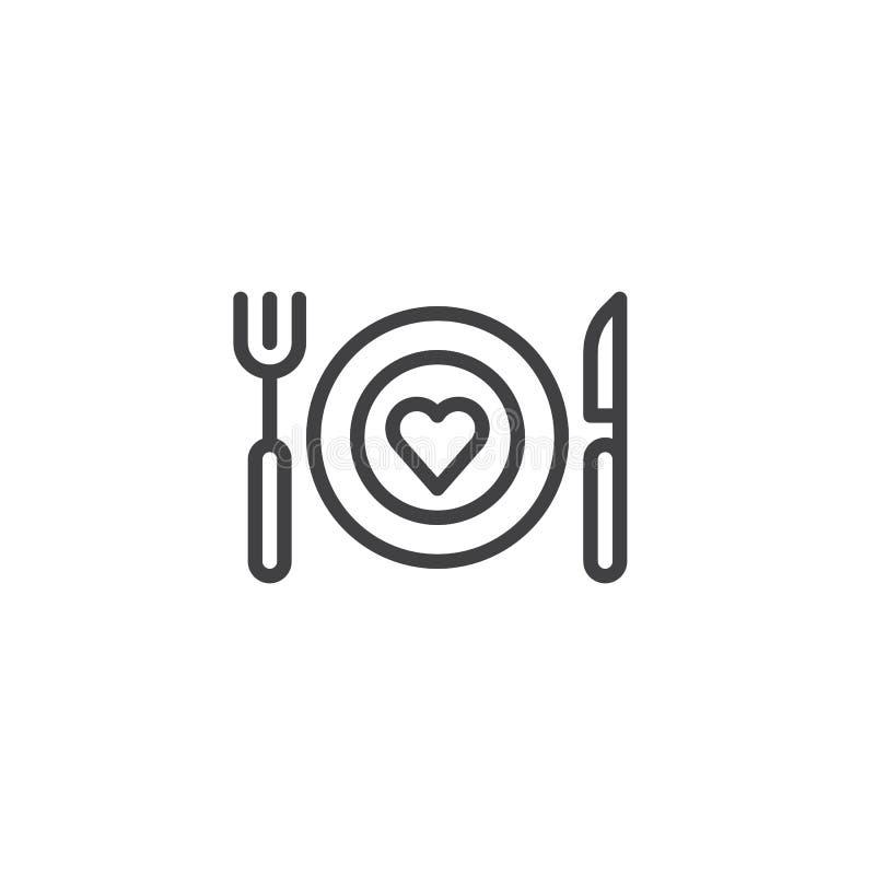 Ρομαντικό εικονίδιο γραμμών γευμάτων διανυσματική απεικόνιση