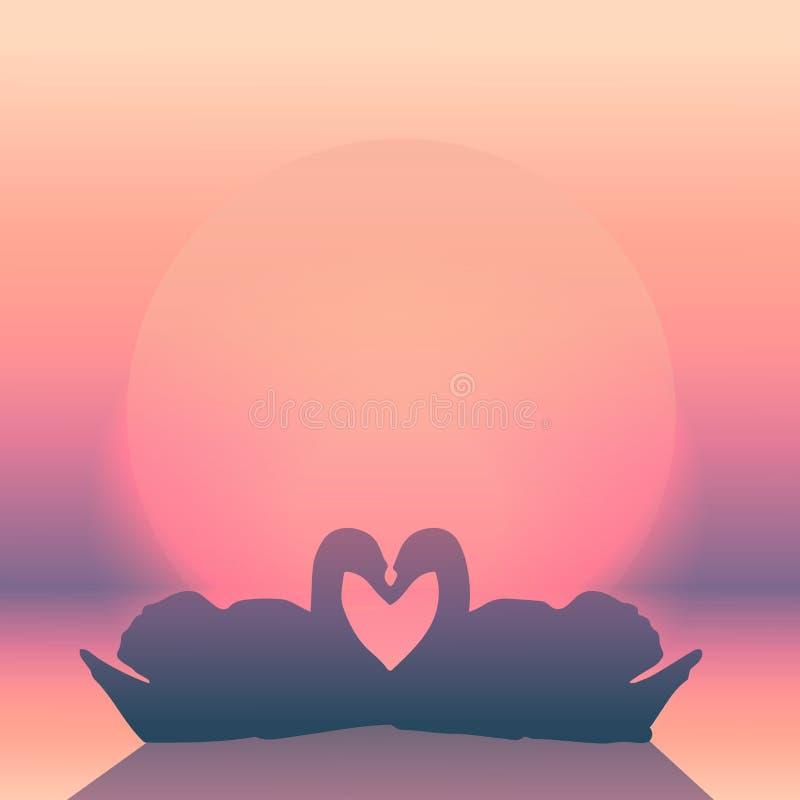 ρομαντικό ζεύγος κύκνων στο ηλιοβασίλεμα ελεύθερη απεικόνιση δικαιώματος