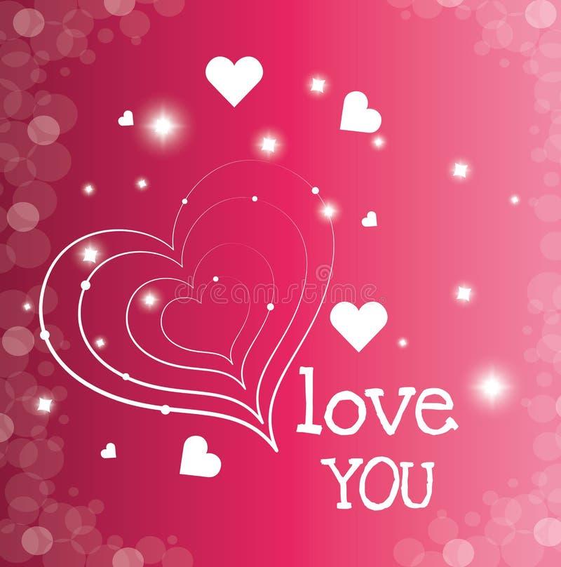 Download Ρομαντικό ζωηρόχρωμο σχέδιο καρτών με τις ρόδινες καρδιές Απεικόνιση αποθεμάτων - εικονογραφία από χαιρετισμός, πάθος: 62702611