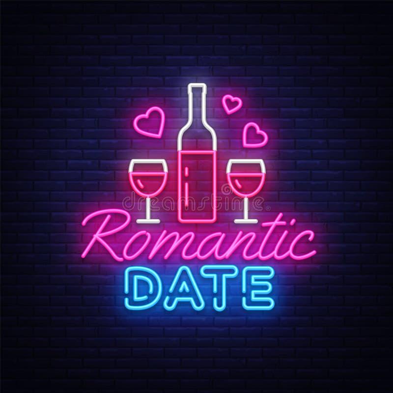 Ρομαντικό ημερομηνίας νέου πρότυπο σχεδίου σημαδιών διανυσματικό Ρομαντικό λογότυπο νέου γευμάτων, ελαφρύς ζωηρόχρωμος σύγχρονος  απεικόνιση αποθεμάτων