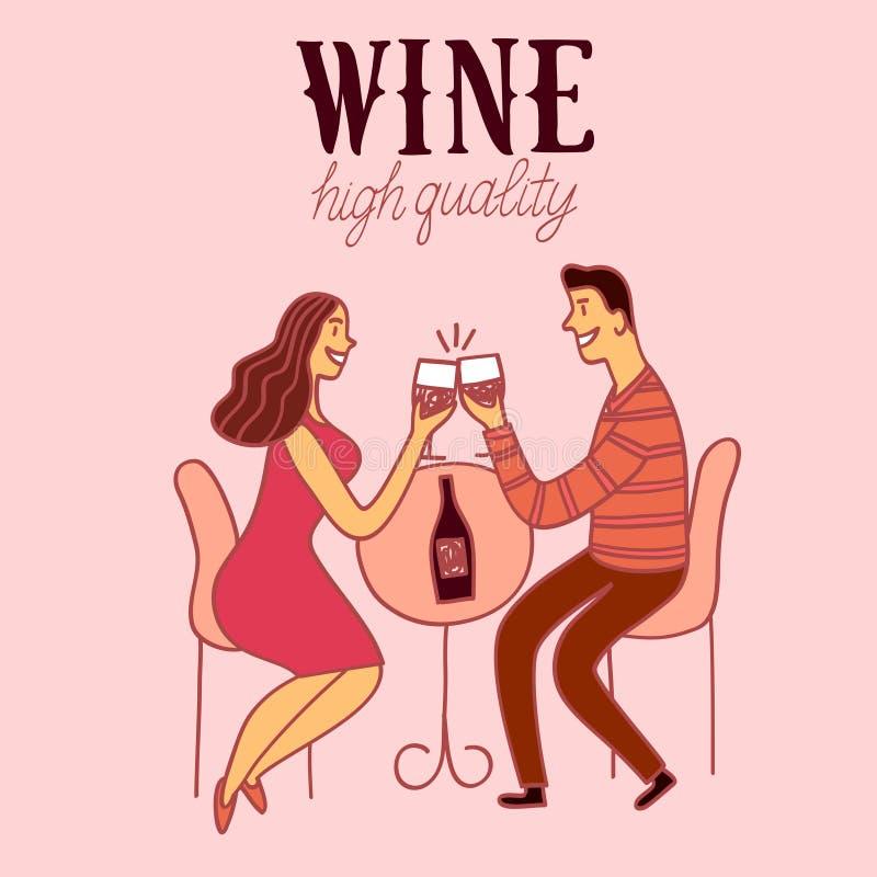 Ρομαντικό κρασί κατανάλωσης ζευγαριού κινούμενων σχεδίων διανυσματική απεικόνιση