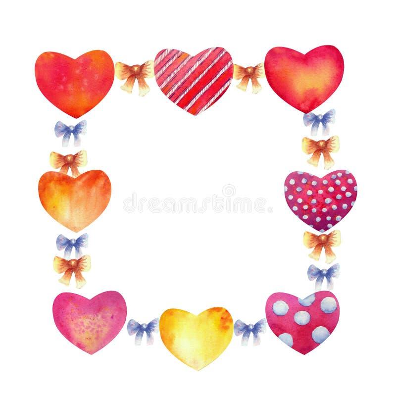 Ρομαντικό πλαίσιο των καρδιών Ευχετήρια κάρτα ή πρότυπο πρόσκλησης Αφηρημένη αγάπη για τη ευχετήρια κάρτα ημέρας βαλεντίνων σας ελεύθερη απεικόνιση δικαιώματος