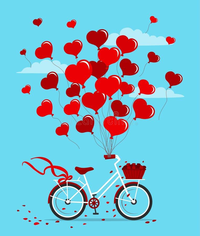 Ρομαντικό ποδήλατο με τα μπαλόνια στη μορφή των καρδιών απεικόνιση αποθεμάτων