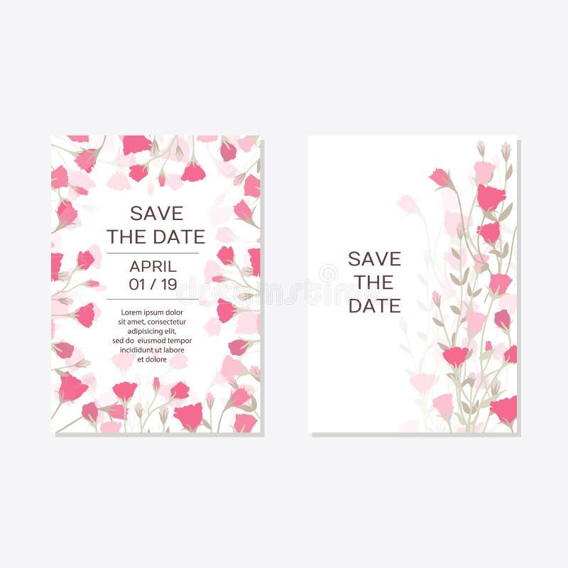Ρομαντικό τρυφερό floral σχέδιο για τη γαμήλια πρόσκληση απεικόνιση αποθεμάτων