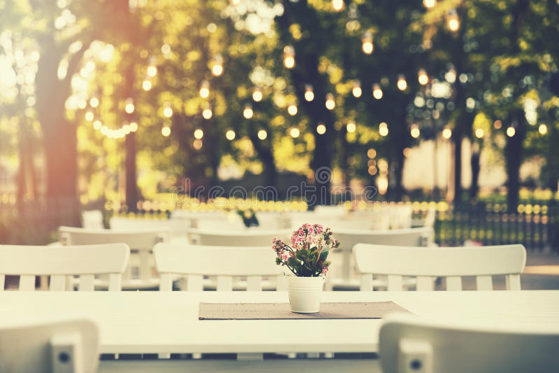 ρομαντικό υπαίθριο εστιατόριο στο πάρκο με τα φω'τα σειράς στοκ εικόνες με δικαίωμα ελεύθερης χρήσης