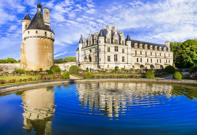 Ρομαντικό Chenonceau Castle Όμορφα κάστρα της κοιλάδας της Loire στη Γαλλία στοκ εικόνα