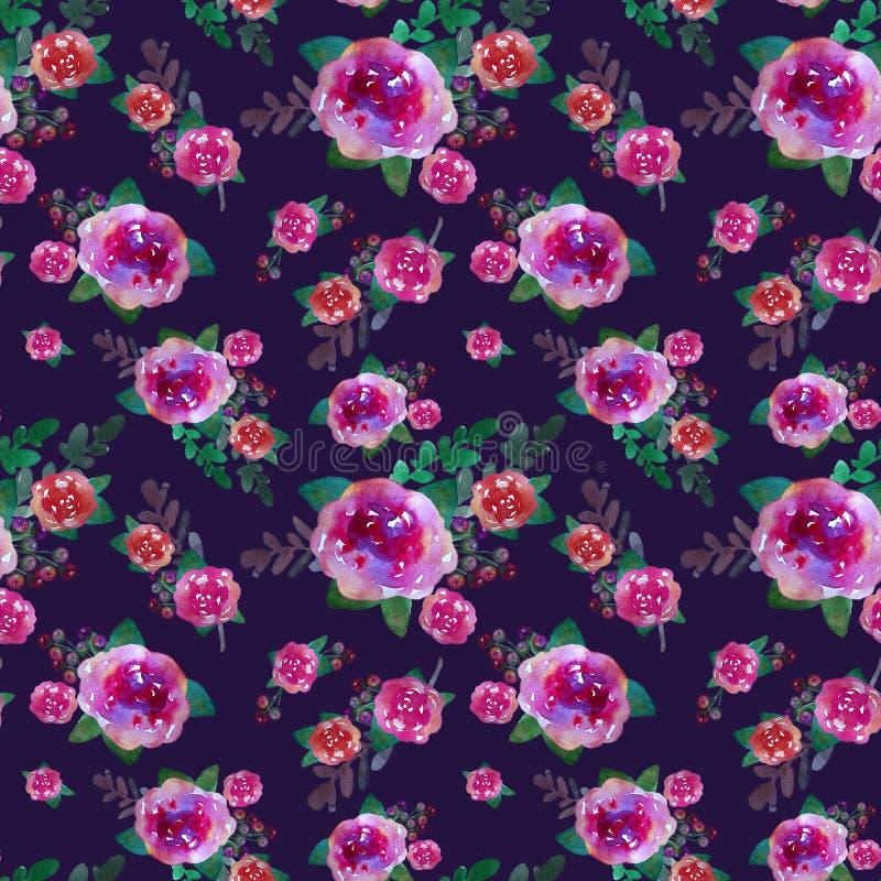 Ρομαντικό floral άνευ ραφής σχέδιο με τα ροδαλά λουλούδια και το φύλλο Τυπωμένη ύλη για την υφαντική ταπετσαρία ατελείωτη Hand-dr απεικόνιση αποθεμάτων