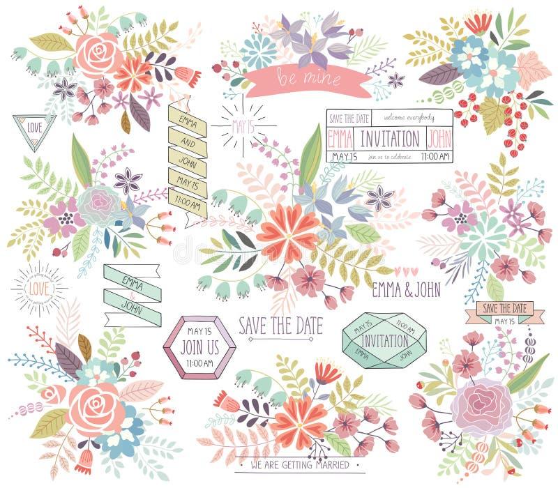 Ρομαντικό Floral συρμένο χέρι σύνολο διανυσματική απεικόνιση