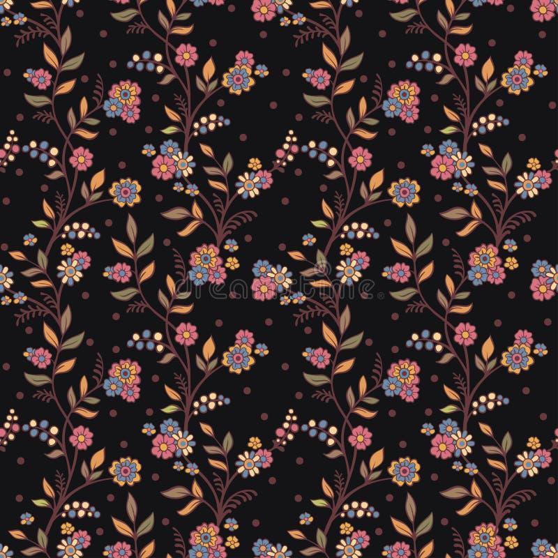 Ρομαντικό floral υπόβαθρο με τα λουλούδια και τα πουλιά. διανυσματική απεικόνιση
