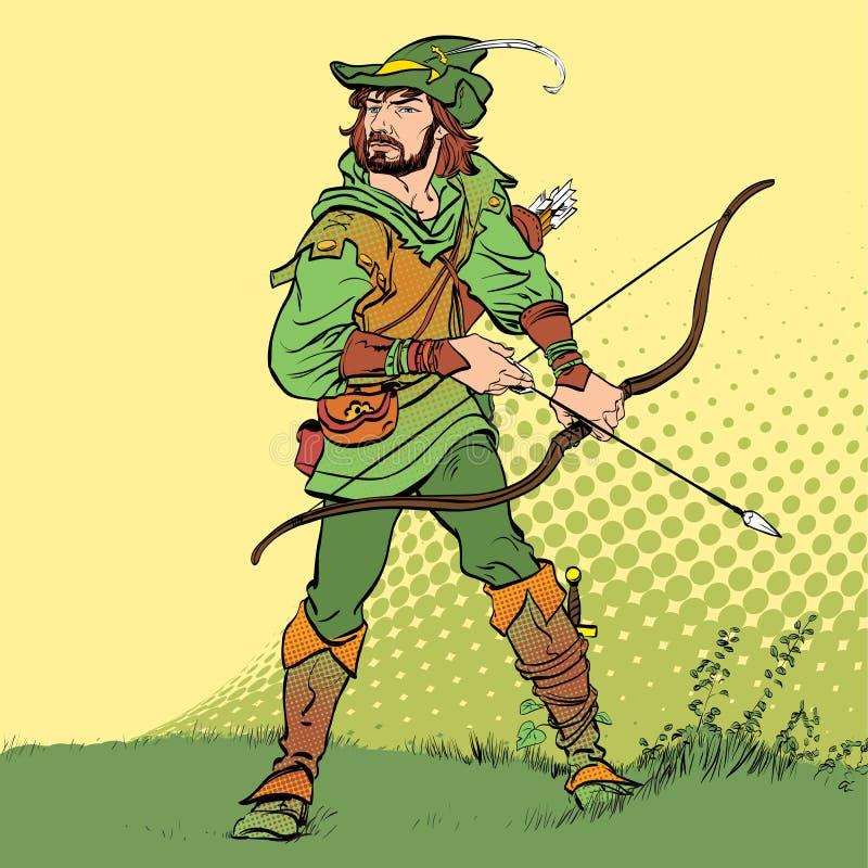 Ρομπέν των Δασών που στέκεται με το τόξο και τα βέλη Ρομπέν των Δασών στην ενέδρα Υπερασπιστής αδύνατου Μεσαιωνικοί μύθοι Ήρωες μ ελεύθερη απεικόνιση δικαιώματος