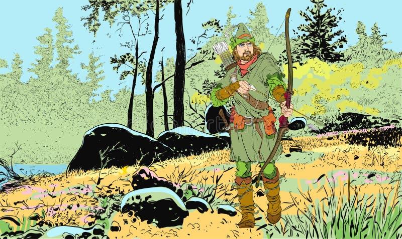 Ρομπέν των Δασών σε ένα καπέλο με το φτερό Υπερασπιστής αδύνατου Μεσαιωνικοί μύθοι Ήρωες των μεσαιωνικών μύθων Ημίτονο υπόβαθρο ελεύθερη απεικόνιση δικαιώματος