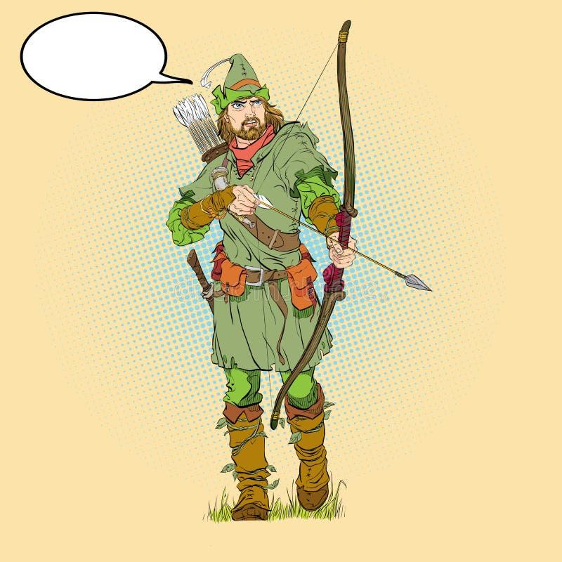 Ρομπέν των Δασών σε ένα καπέλο με το φτερό Υπερασπιστής αδύνατου Μεσαιωνικοί μύθοι Ήρωες των μεσαιωνικών μύθων Ημίτονο υπόβαθρο απεικόνιση αποθεμάτων
