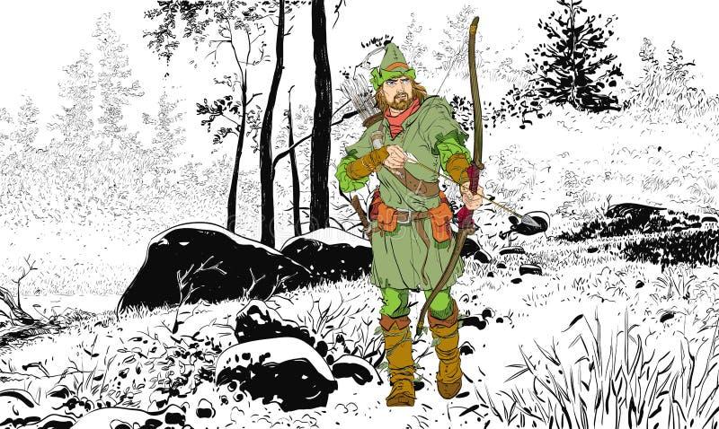 Ρομπέν των Δασών σε ένα καπέλο με το φτερό Υπερασπιστής αδύνατου Μεσαιωνικοί μύθοι Ήρωες των μεσαιωνικών μύθων Ημίτονο υπόβαθρο διανυσματική απεικόνιση