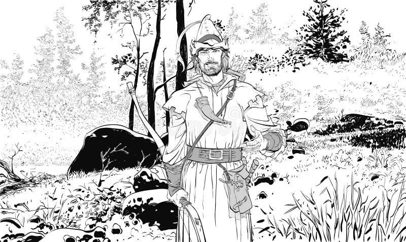 Ρομπέν των Δασών Υπερασπιστής αδύνατου Μεσαιωνικοί μύθοι Ήρωες των μεσαιωνικών μύθων Ημίτονο υπόβαθρο ελεύθερη απεικόνιση δικαιώματος