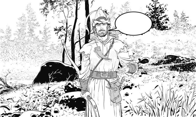 Ρομπέν των Δασών Υπερασπιστής αδύνατου Μεσαιωνικοί μύθοι Ήρωες των μεσαιωνικών μύθων Ημίτονο υπόβαθρο διανυσματική απεικόνιση