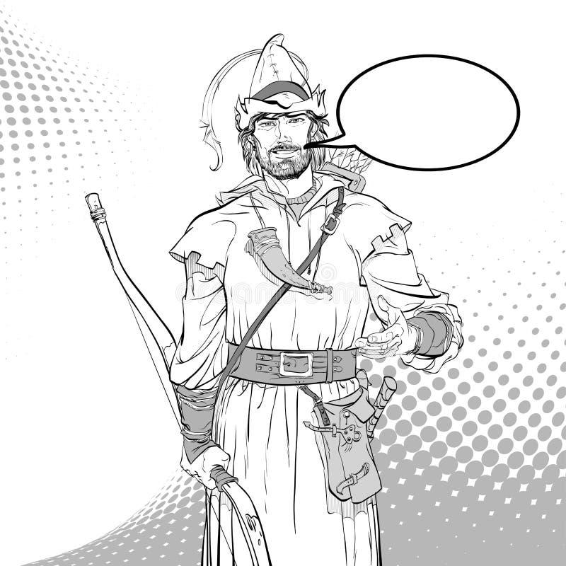 Ρομπέν των Δασών Υπερασπιστής αδύνατου Μεσαιωνικοί μύθοι Ήρωες των μεσαιωνικών μύθων Ημίτονο υπόβαθρο απεικόνιση αποθεμάτων