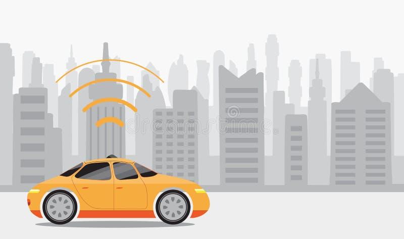 Ρομποτικά μόνος-οδηγώντας αυτοκίνητα στο υπόβαθρο πόλεων απεικόνιση αποθεμάτων