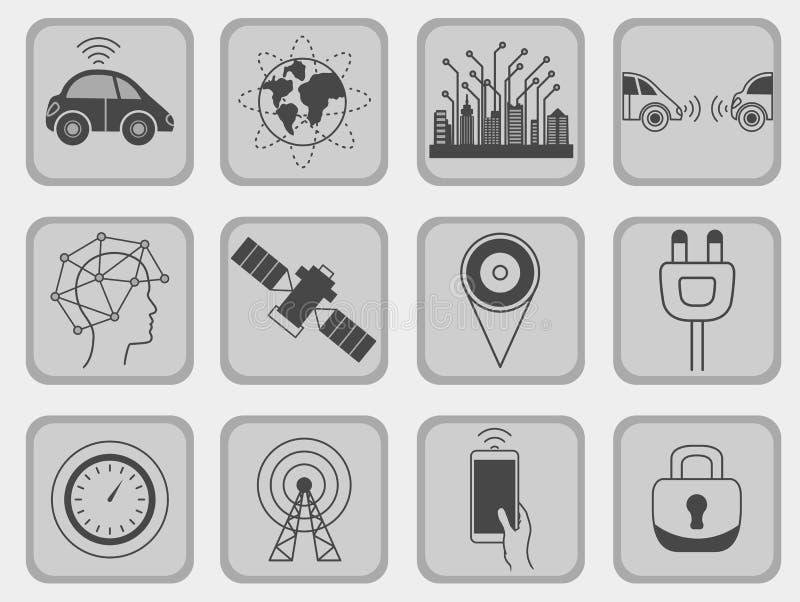 Ρομποτικά σημάδια συστημάτων βοήθειας Driverless, σύνολο εικονιδίων διανυσματική απεικόνιση