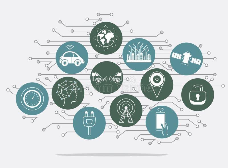 Ρομποτικά σημάδια συστημάτων βοήθειας Driverless, υπόβαθρο infographics διανυσματική απεικόνιση