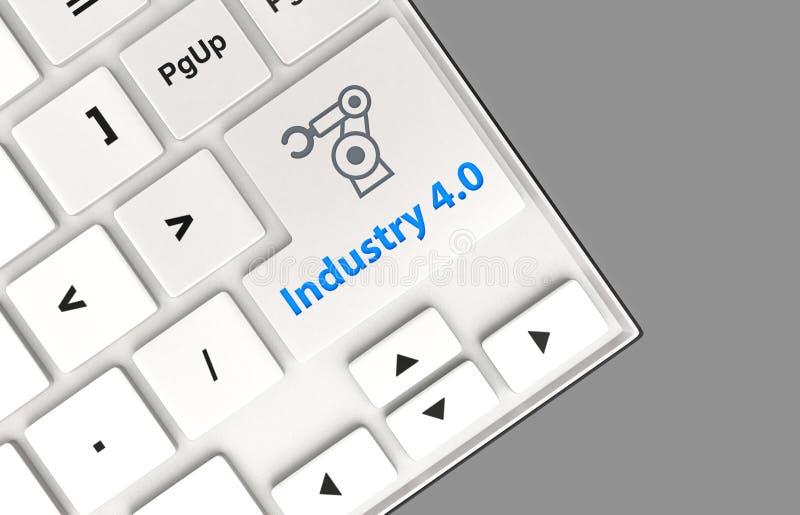 Ρομποτικές εικονίδιο βραχιόνων και βιομηχανία 4 λέξης 0 στο πληκτρολόγιο Έννοια για τη βιομηχανία 4 ελεύθερη απεικόνιση δικαιώματος