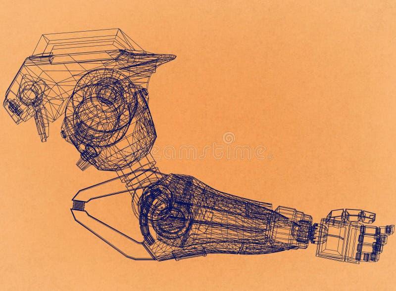 Ρομποτική έννοια σχεδίου βραχιόνων - αναδρομικό σχεδιάγραμμα αρχιτεκτόνων στοκ φωτογραφία με δικαίωμα ελεύθερης χρήσης