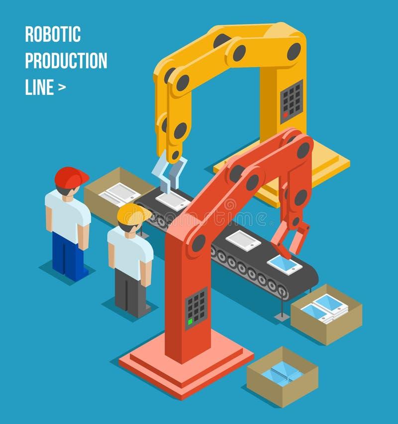 Ρομποτική γραμμή παραγωγής διανυσματική απεικόνιση