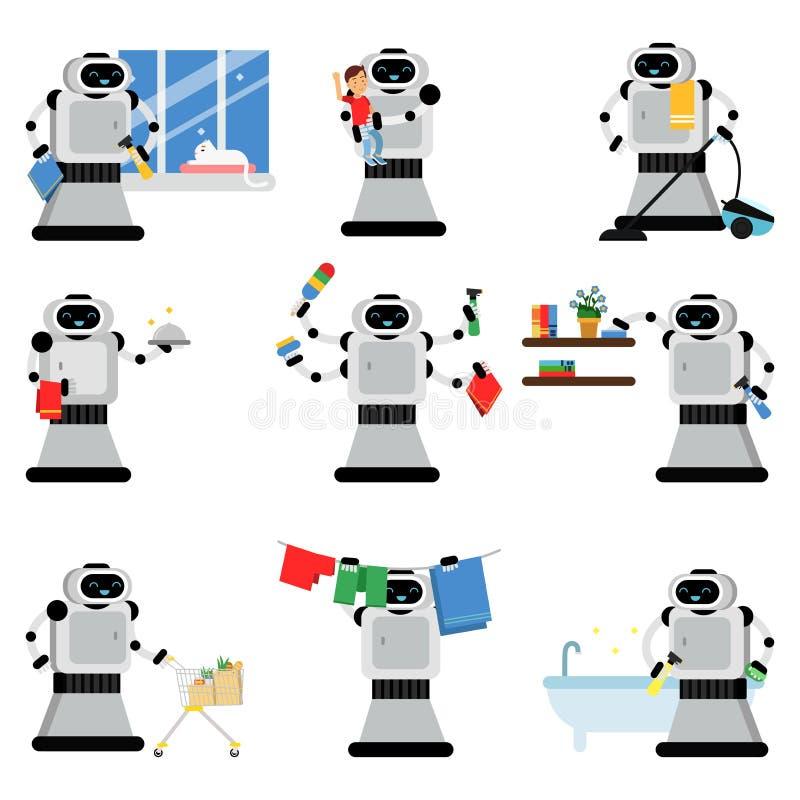 Ρομποτικοί βοηθοί που βοηθούν άτομα που εργάζονται στο σπίτι να ορίσουν διανυσματικές εικόνες απεικόνιση αποθεμάτων