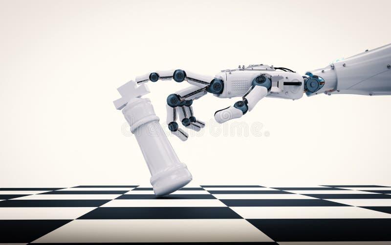 Ρομποτικός βασιλιάς σκακιού εκμετάλλευσης χεριών στοκ φωτογραφίες