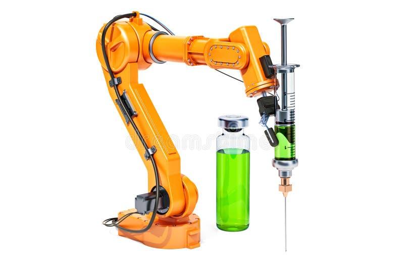 Ρομποτικός βραχίονας με τη σύριγγα και το φιαλίδιο, τρισδιάστατη απόδοση διανυσματική απεικόνιση