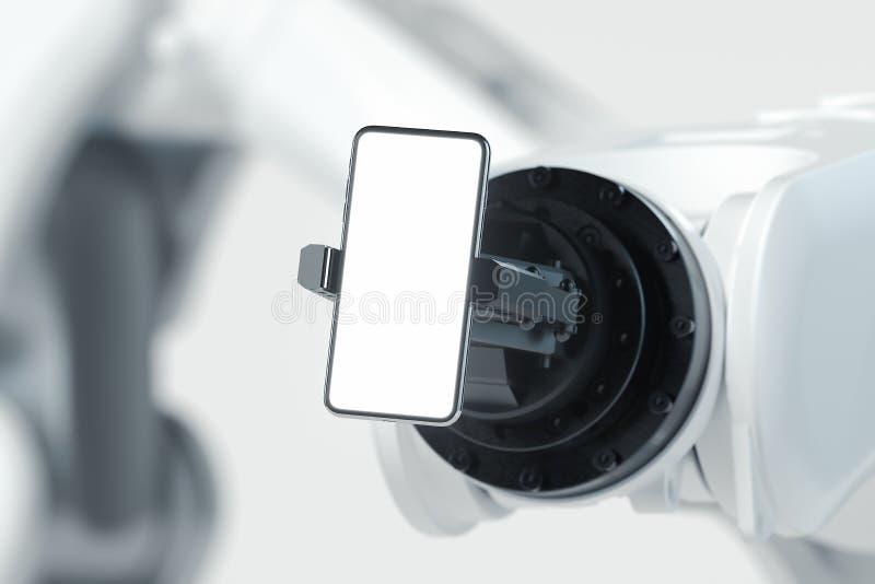 Ρομποτικός βραχίονας που κρατά το κινητό τηλέφωνο στο άσπρο υπόβαθρο r διανυσματική απεικόνιση