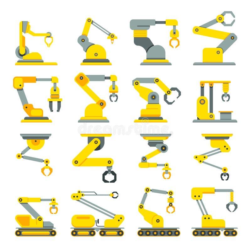 Ρομποτικός βραχίονας, χέρι, βιομηχανικά επίπεδα διανυσματικά εικονίδια ρομπότ καθορισμένα διανυσματική απεικόνιση