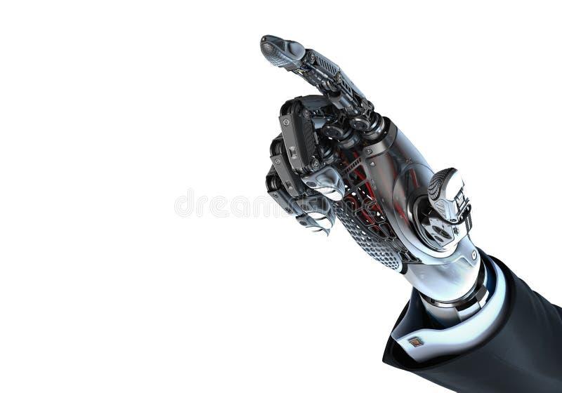 Ρομποτικός παραδώστε το επιχειρησιακό κοστούμι δείχνοντας με το αντίχειρα διανυσματική απεικόνιση