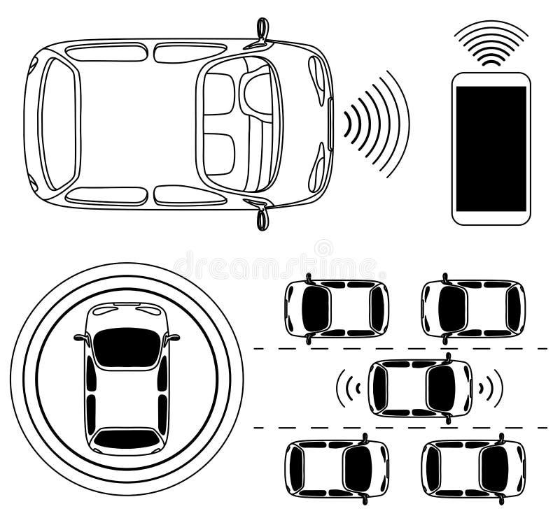 Ρομποτικό αυτοκίνητο Driverless, μόνος-οδηγώντας αυτοκίνητο, άποψη άνωθεν απεικόνιση αποθεμάτων