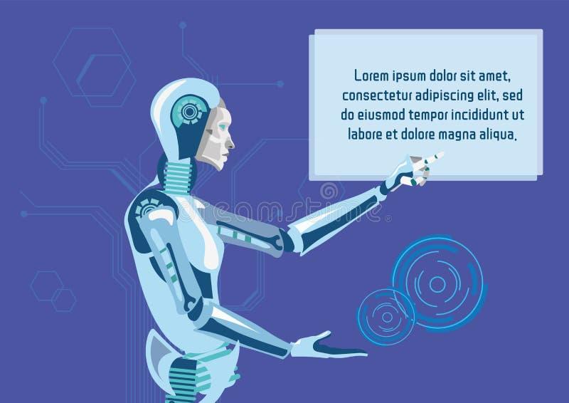 Ρομποτικό βοηθών πρότυπο εμβλημάτων Promo επίπεδο ελεύθερη απεικόνιση δικαιώματος