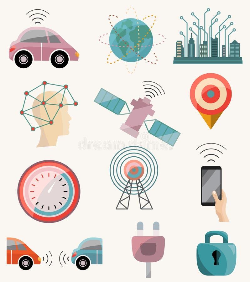 Ρομποτικό μόνος-οδηγώντας σύνολο εικονιδίων αυτοκινήτων Driverless Σύστημα βοήθειας οδηγών ελεύθερη απεικόνιση δικαιώματος