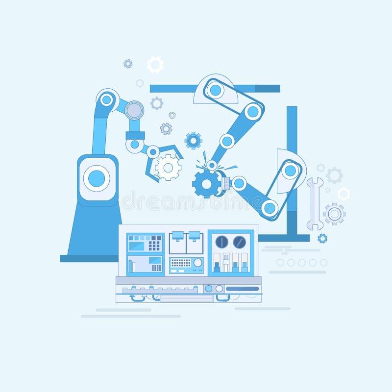 Ρομποτικό συνελεύσεων έμβλημα Ιστού παραγωγής βιομηχανίας αυτοματοποίησης γραμμών βιομηχανικό διανυσματική απεικόνιση