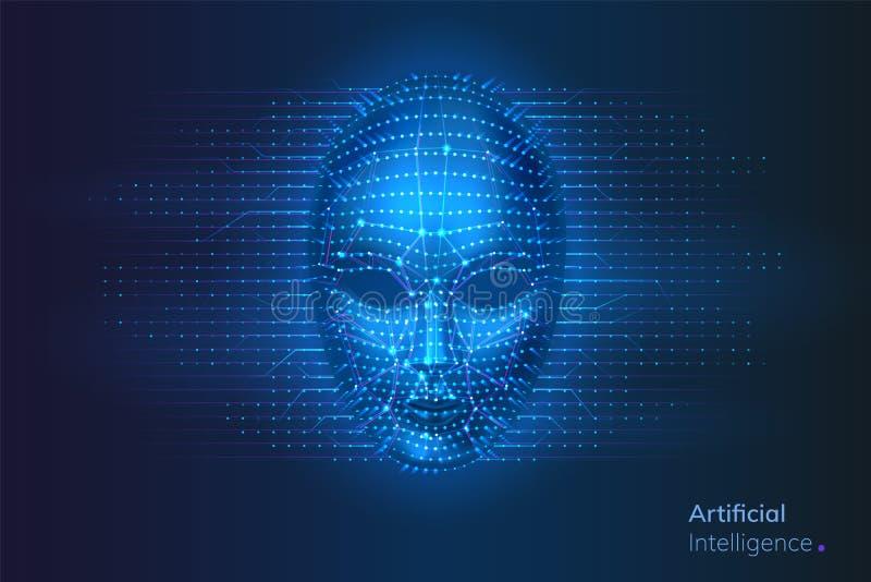 Ρομπότ ή τεχνητή νοημοσύνη, πρόσωπο AI cyber ελεύθερη απεικόνιση δικαιώματος