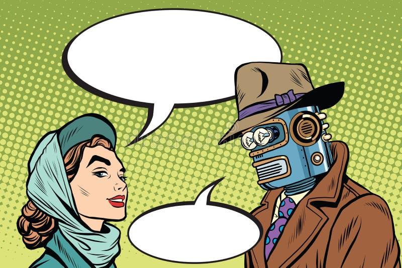Ρομπότ ανδρών ζεύγους και όμορφη γυναίκα απεικόνιση αποθεμάτων