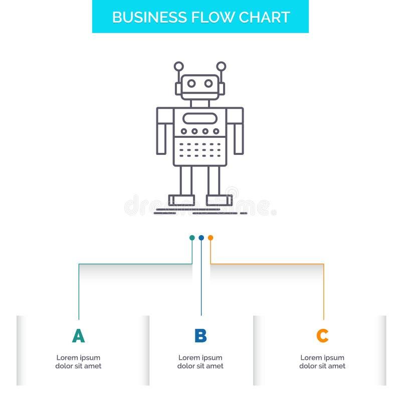 ρομπότ, αρρενωπός, τεχνητό, BOT, σχέδιο διαγραμμάτων επιχειρησιακής ροής τεχνολογίας με 3 βήματα Εικονίδιο γραμμών για το υπόβαθρ απεικόνιση αποθεμάτων