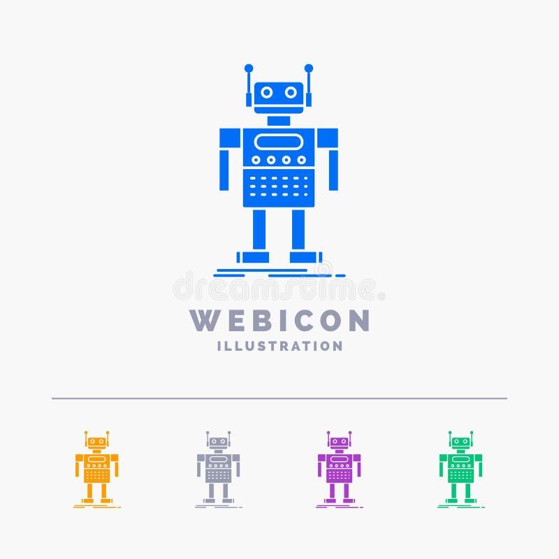 ρομπότ, αρρενωπός, τεχνητό, BOT, τεχνολογία 5 πρότυπο εικονιδίων Ιστού Glyph χρώματος που απομονώνεται στο λευκό r διανυσματική απεικόνιση