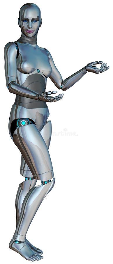 Ρομπότ γυναικών το ΠΡΟΪΟΝ ΣΑΣ που απομονώνεται ΕΔΩ διανυσματική απεικόνιση